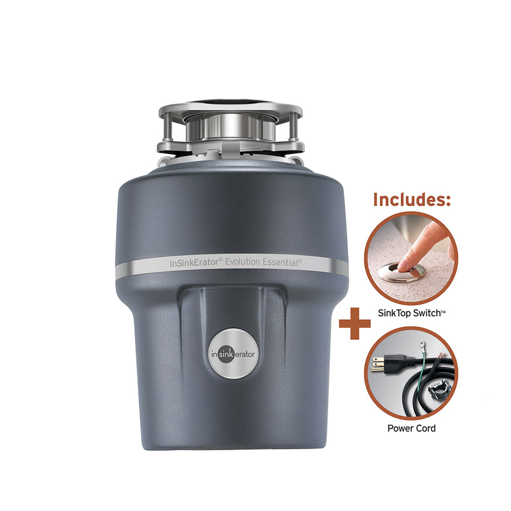 Insinkerator Evolution Essential XTR Garbage Disposal With Cord And Sinktop Switch, 3/4 HP 1950617