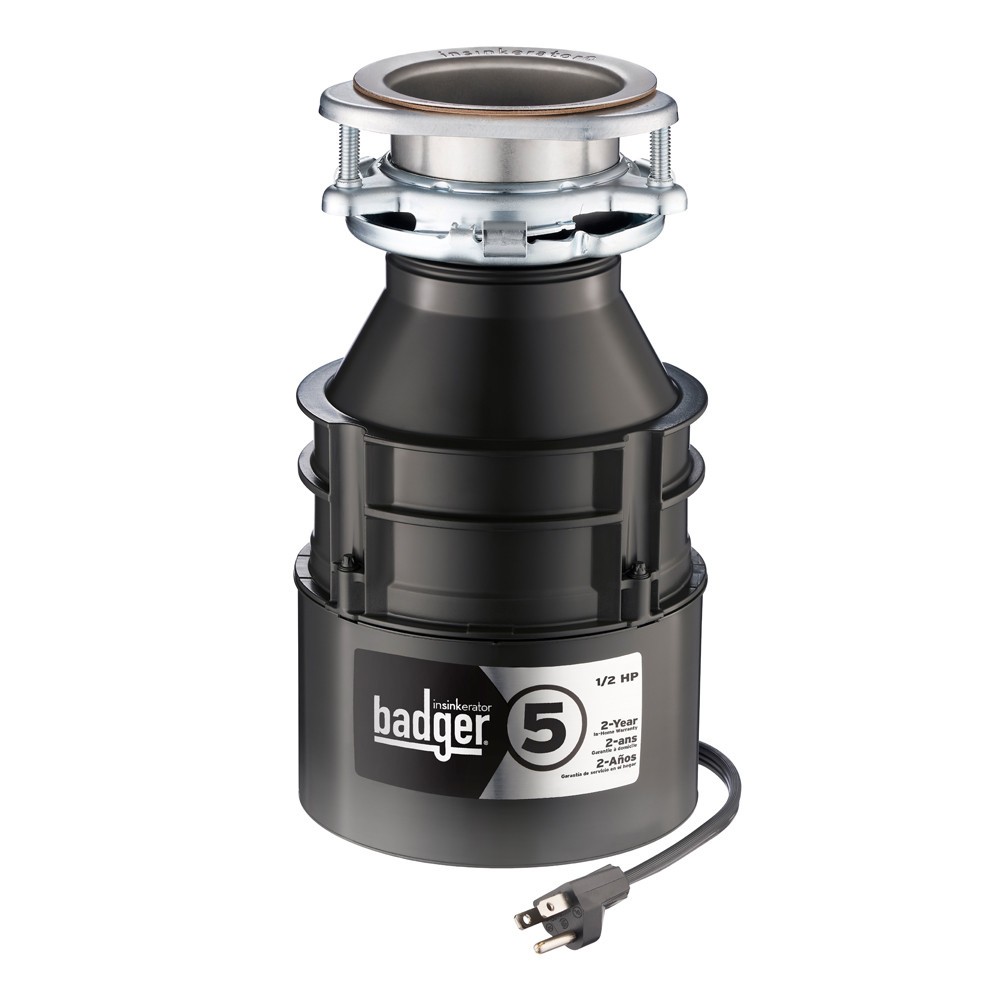 Insinkerator Badger 5 Garbage Disposal With Cord, 1/2 HP