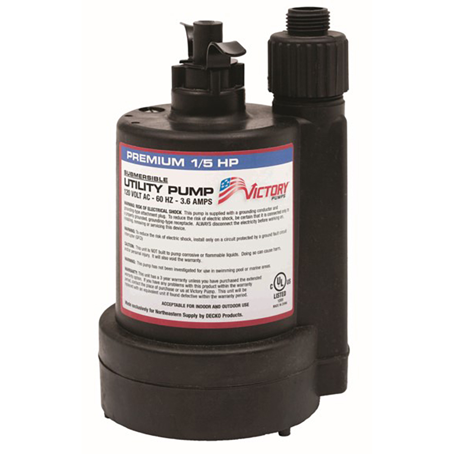 1/5 HP, 3yr Warranty, Thermoplastic Submersible Utility Pump