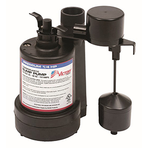 1/4 HP, 3yr Warranty, Thermoplastic Submersible Sump Pump - Vertical Float
