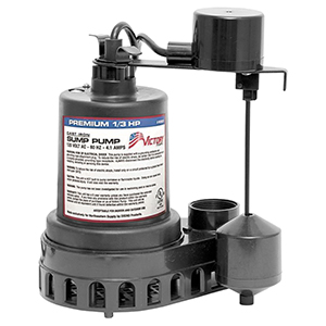 1/3 HP, 3yr Warranty, Thermoplastic Submersible Sump Pump -vertical Float
