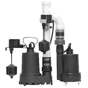 Pre-assembled Primary And Backup Sump Pump Kit, 1/3 HP, Batt B/u