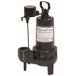 1/2 HP, 3yr Warranty, Cast Iron Submersible Sewage Pump - Vertical Float
