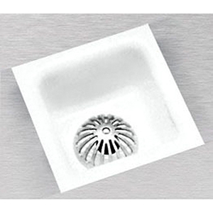 "12"" X 12"" X 6"", 4"" Caulk Drain, White Acid Resistant Enameled, Cast Iron, Floor Sink With Dome Strainer"