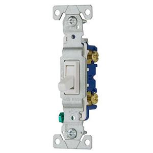 120 VAC, 15 A, 1-pole, Screw Terminal, White Polycarbonate, Standard Grade, Toggle Switch