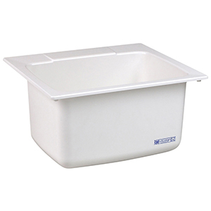 "22"" X 25"" X 13-3/4"", 7-15/16"" Rough-in, White, Molded Fiberglass, 1-piece, Self-rimming Edge, Seamless, Utility Sink"