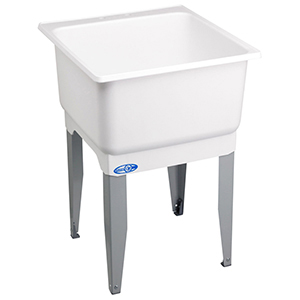 "25"" X 23"" X 15"", 11-1/2"" X 7"" Rough-in, White, Polypropylene, Floor Mount, 1-piece, Single Bowl, Laundry Tub"