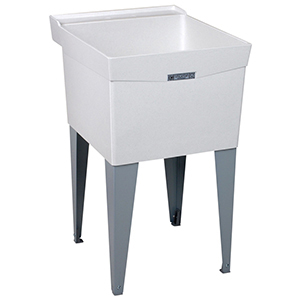 "20"" X 24"" X 34"", 10"" X 7-1/2"" Rough-in, White, Fiberglass, Floor Mount, 1-piece, Single Bowl, Laundry Tub"