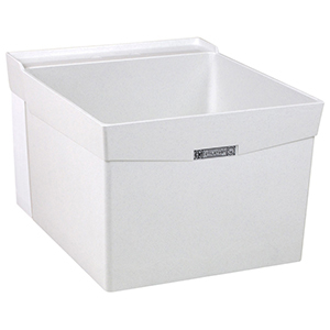 "20"" X 24"" X 34"", 10"" X 7-1/2"" Rough-in, White, Fiberglass, Wall Mount, 1-piece, Single Bowl, Laundry Tub"