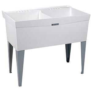 "24"" X 40"" X 34"", 13-3/4"" Rough-in, Marbleized White, Fiberglass, Floor Mount, 1-piece, Double Bowl, Laundry Tub"