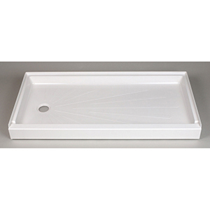 "60"" X 30"" X 5-1/2"", White, Reinforced/molded Fiberglass, Left Drain, 1-piece, Easy Access, Rectangle, Shower Floor"