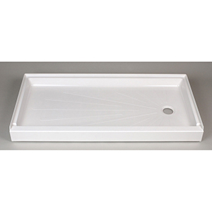 "60"" X 30"" X 5-1/2"", White, Reinforced/molded Fiberglass, Right Drain, 1-piece, Easy Access, Rectangle, Shower Floor"