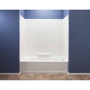 """50"""" X 35"""" X 58"""", White, Reinforced Molded Fiberglass, 3-piece, Bathtub Wall"""