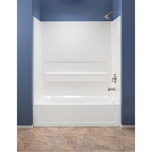 """60"""" X 31-1/4"""" X 61-1/4"""",White, Fiberglass, 3-piece, Bathtub Wall"""