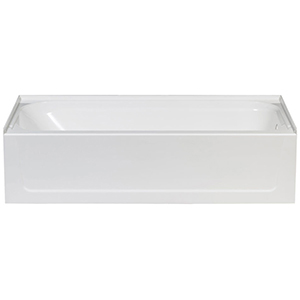 "60"" X 30"" X 15-3/4"", Right Drain, White/semi-gloss, Molded Fiberglass, Alcove, Bathtub"