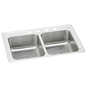 """29"""" X 18"""" X 6-1/2"""", 3-hole, 8"""" Center, Lustrous Satin, 18 Gauge 304 Stainless Steel, Drop-in Mount, Square In Rectangle, Equal Double Bowl, Kitchen Sink"""