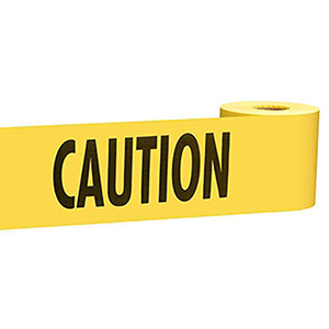 "Barricade Tape 3"" X 300' X 2 Mil, Legend: Caution, Yellow Background, Durable Plastic, Standard"