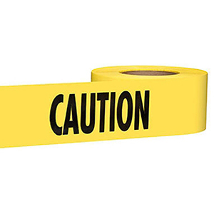 "Barricade Tape 3"" X 1000' X 2 Mil, Legend: Caution, Yellow Background, Durable Plastic, Standard"