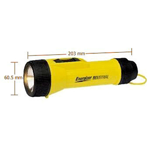 Flashlight (2) D, Yellow, Polypropylene, One White Led Lamp, Industrial Heavy Duty