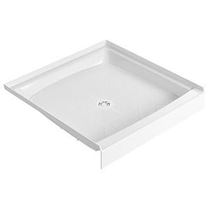 "36"" X 36"" X 6"", White, Durable Molded Stone, Recessed, 1-piece, Single Threshold, Square, Shower Floor With Plastic Strainer"