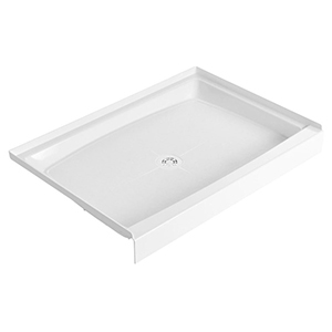 "48"" X 34"" X 6"", White, Durable Molded Stone, Recessed, 1-piece, Single Threshold, Rectangle, Shower Floor"