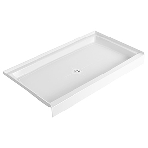 "60"" X 34"" X 6"", White, Durable Molded Stone, Recessed, 1-piece, Single Threshold, Rectangle, Shower Floor With Plastic Strainer"