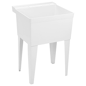 "23"" X 21-1/2"", 9-1/2"" X 11-1/2"" Rough-in, White, Baked Enamel Steel Leg, Floor Mount, Single Bowl, Laundry Tub"