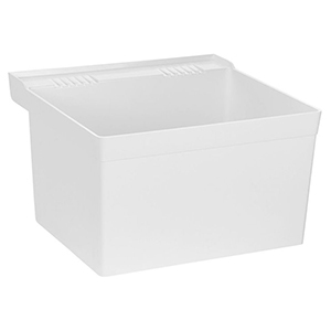 "23"" X 21-1/2"", 9-1/2"" X 11-1/2"" Rough-in, White, Molded Stone, Wall Mount, Single Bowl, Laundry Tub"