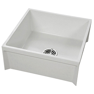 "24-3/16"" X 24-3/16"" X 10"", 12"" Rough-in, 3"" Drain, White, Molded Stone, 1-piece, Square In Square, Mop Service Basin"