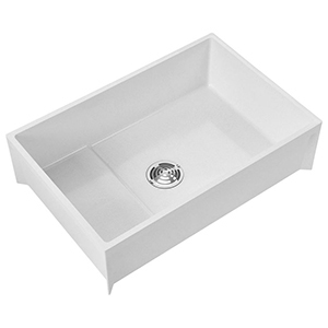 "36-3/16"" X 24-3/16"" X 10"", 12"" Rough-in, 3"" Drain, White, Molded Stone, 1-piece, Rectangle In Rectangle, Mop Service Basin"