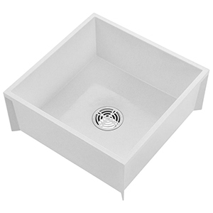 "24"" X 24"" X 10"", 12"" Rough-in, 3"" Drain, White, Molded Stone, 1-piece, Square In Square, Mop Service Basin"