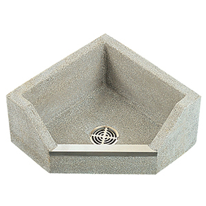 """24"""" X 24"""" X 12"""", 12"""" Rough-in, 3"""" Drain, White Chip, Gray Portland Cement, 1-piece, Neo-corner, Drop Front, Mop Service Basin With Stainless Steel Cap On Threshold"""