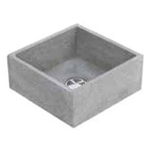 "24"" X 24"" X 10"", White Chip, Gray Portland Cement, 1-piece, Square In Square, Plain Curb, Mop Service Basin"