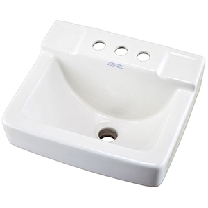 "14-1/8"" X 12"" X 8-3/4"", 3-hole, 4"" Center, White, Vitreous China, Wall Hung, Ledge, Bathroom Sink"