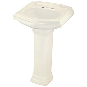 """21-1/2"""" X 18-3/4"""" X 35"""", 3-hole, 4"""" Center, Biscuit, Vitreous China, Curved Rectangle, Pedestal Mount, Bathroom Sink"""