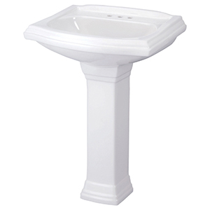 "21-1/2"" X 18-3/4"" X 35"", 3-hole, 4"" Center, White, Vitreous China, Curved Rectangle, Pedestal Mount, Bathroom Sink"