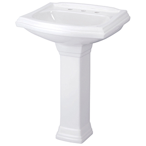 "25-1/2"" X 21"" X 35"", 3-hole, 4"" Center, White, Vitreous China, Pedestal Mount, Bathroom Sink"