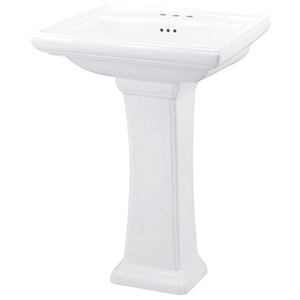 "27-3/8"" X 21-1/4"" X 35"", 3-hole, 4"" Center, White, Vitreous China, Pedestal Mount, Bathroom Sink"