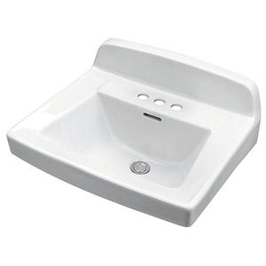 "20-1/4"" X 18-1/2"" X 13"", 3-hole, 4"" Center, White, Vitreous China, Back Splash, Bathroom Sink"