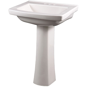"23-7/8"" X 20-1/4"" X 35-1/8"", 3-hole, 4"" Center, White, Vitreous China, Curved Rectangle, Pedestal Bathroom Sink"