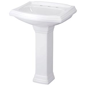 "28"" H, 9-5/8"" X 7-1/4"" Base, White, Vitreous China, Bathroom Sink Pedestal"