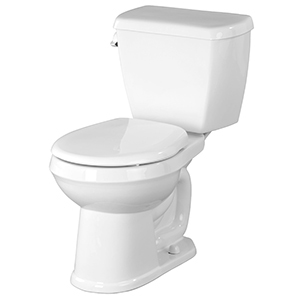 "28-3/8"" X 17-1/8"" X 29-5/8"", 12"" Rough-in, 15-1/2"" Bowl Height, 1.6 GPF, Color Matched Metal Side Tank Lever, White, Vitreous China, Floor Mount, 2-piece, Round Front Bowl, Toilet"