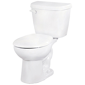 "27-1/8"" X 17-1/2"" X 26-7/8"", 12"" Rough-in, 14-7/8"" Bowl Height, 1.6 GPF, Color Matched Metal Tank Lever, White, Vitreous China, Floor Mount, 2-piece, Round Front Bowl, Toilet"