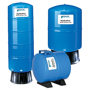 """Water System Diaphragm Tank, 15-3/8"""" X 32-3/8"""", 1"""" FPT X 1"""" FPT, 19.9 Gallon, 125 PSI, Lead-free, Blue Deep Drawn Steel, Stand"""