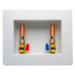 LSP White Plastic Center Outlet Washing Machine Outlet Box With CPVC Valve And Hammer Arrester 755504