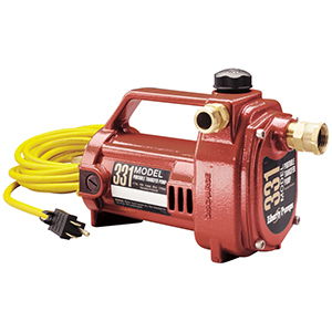 "3/4"" Suction/discharge, FPT X MPT, 115 VAC 60 Hz, 8 A, 1/2 HP, 7500 RPM, 1000 GPH, Epoxy Powder Coated, Cast Aluminum, 1-piece, Heavy Duty, Portable Transfer Utility Pump"