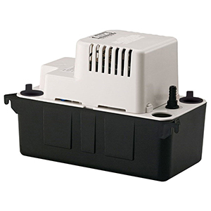 """1-1/8"""" Inlet, 3/8"""" Barbed Outlet, 115 VAC 60 Hz, 1 A, 1/50 HP, 6.5 PSI, 65 GPH, Automatic, Vertical Centrifugal, Condensate Removal Pump With Overflow Detection Switch"""