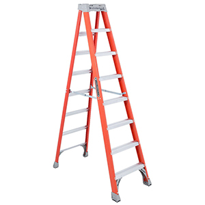 "Step Ladder 8' H, 25-3/8"" Base, 300 LB Load, Fiberglass, Type 1A"