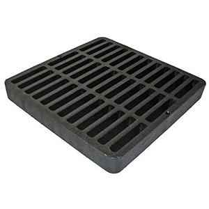 """9"""" X 9"""" X 1-1/8"""", Black, Structural Foam Polyolefin, Flat, Square, Grate For Drain Catch Basin"""