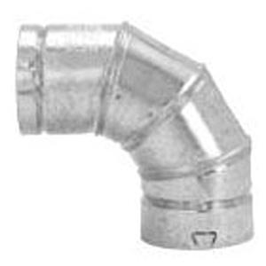"4"" X 4"", Aluminum Inner Liner, 28 Gauge Galvanized Steel Outer, 4-piece, Double Wall, Adjustable, 90d, Gas Vent Elbow"